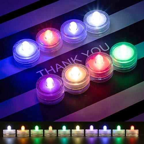 CaaWoo Candele a LED, 12 Pezzi Multicolore Luci Sommergibili LED, Sommergibile Candele Senza Fiamma,Impermeabile Subacquea Mini Tealight LED per Bagno, Feste, Matrimoni