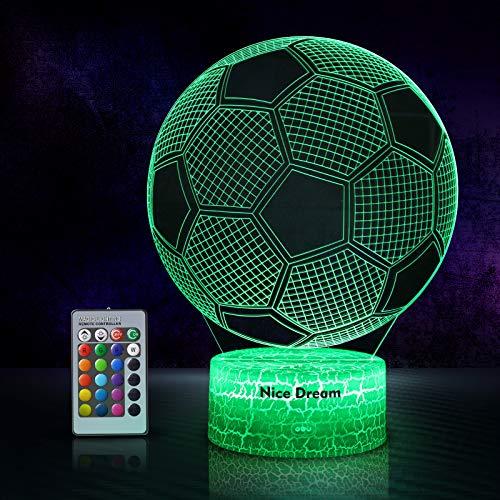 Calcio Lampade 3D Illusione Ottica Luce Notturna, Lampada Led Da Tavolo Illuminazione Luce Di Notte, 16 Colori Controllo Tattile Lampada Decorazione Da Comodino Con Cavo Usb
