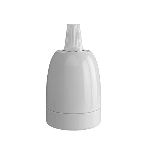 Calex - Portalampada in ceramica, 60 W, 250 V, E27, diametro 47 mm, colore: Bianco