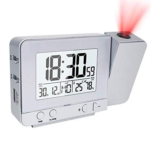 CAMPSLE Display a LED Proiettore Sveglia con retroilluminazione Alimentato a batteria Ruota la temperatura Umidità Sveglia Orologio da scaffale da tavolo digitale a LED per arredamento camera da letto