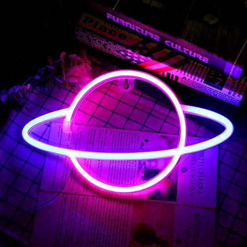 CAMPSLE Neon Light Sign LED Lightning Planet Shaped Night Light Decorazione da parete Luce azionata da USB/Batteria Luce al neon per Natale Festa di compleanno Decorazioni per bambini