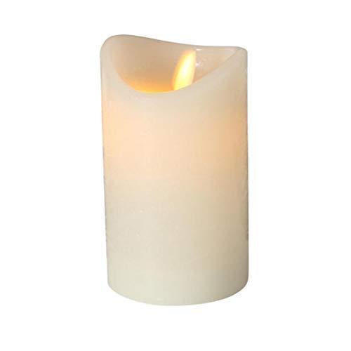Candela a LED bianco crema, luce calda, timer 6 ore, fiamma oscillante, altezza 12 cm, diametro 7,5 cm