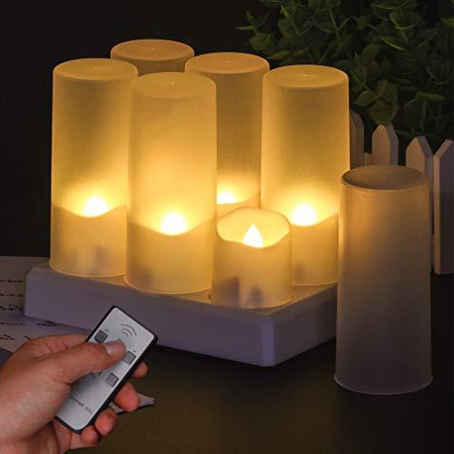 Candele a LED, 6 LED senza fiamma, candele tremolanti con timer, senza scented Tea Light decorazione per Natale, feste di nozze (confezione da 6 con paralumi ghiacciati)
