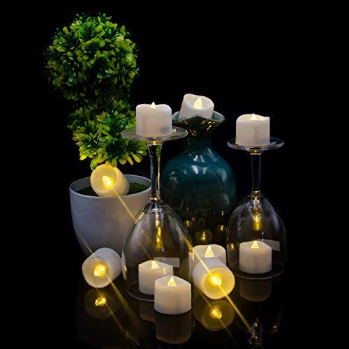 Candele a LED, candele a LED, candele elettriche, candele senza fiamma, candele tealight a batteria – Fiamma LED realistiche tremolanti, decorazione per feste e festival [24 pezzi, bianco caldo]