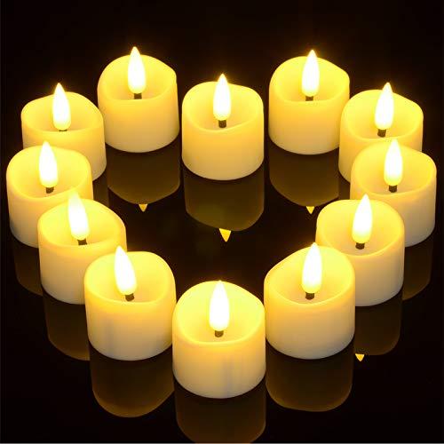 Candele a LED con funzione timer, Yme 12 pezzi, senza fiamma a LED, candele votive con stoppini realistici, per Natale, casa, matrimonio, compleanno, festa