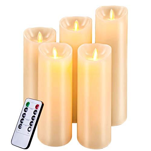"""Candele LED Candele batteria –Natale Senza Fiamma Candele Decorative: Classiche Candele Cilindriche in Vera Cera da 5"""",6"""", 7"""", 8"""" 9"""" con Fiamma LED in Movimento e Telecomando da Timer"""