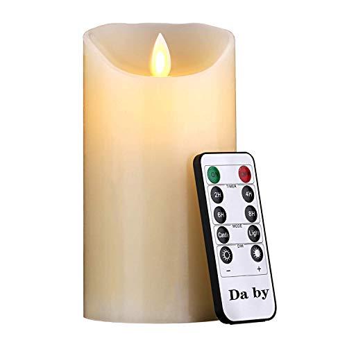 Candele LED di Da by, Fiamma LED Lampeggiante 15 cm, 300 Ore di Candele Senza Fiamma con Telecomando a 10 Tasti. colore avorio[Classe di efficienza energetica A,Batterie non incluse]