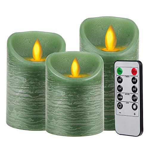 Candele LED Set Fiamma LED Lampeggiante in 3 Pezzi 10 * 12,5 * 15cm con Timer Telecomando, per Natale Feste Decorazione Matrimonio, Verde