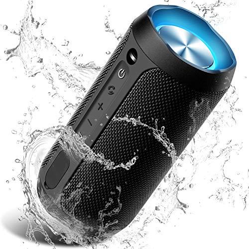 Cassa Bluetooth, COOCHEER Altoparlante Bluetooth Portatili 24W con Luce per Feste, Waterproof IPX7 con Microfono, Fino a 20h di Autonomia,TWS Audio Stereo 360 per Smartphone