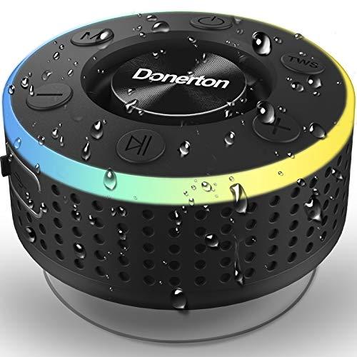 Cassa Bluetooth, IP7 Impermeabile Portable Speaker Doccia, Speaker Wireless Bluetooth 5.0 con HD MIC Supporto Radio FM, Cassa Bluetooth Portatile con Ventosa per Bagno, Spiaggia, Piscina