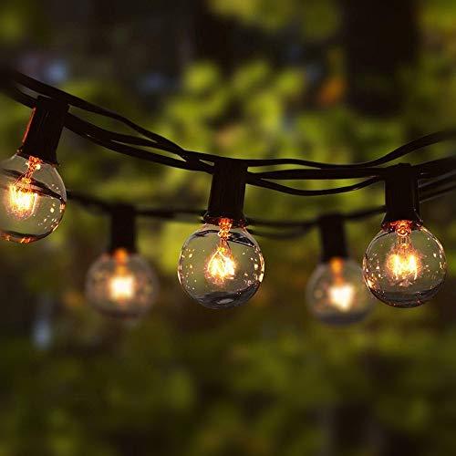 Catena Luminosa, 8M Stringa Luci Natalizie Catene Luminose Impermeabile con 28 pezzi G40 Lampadina Bianco Caldo Decorazione da Esterno e Interno per Giardino, Terrazza, Matrimonio, Natale, Festa