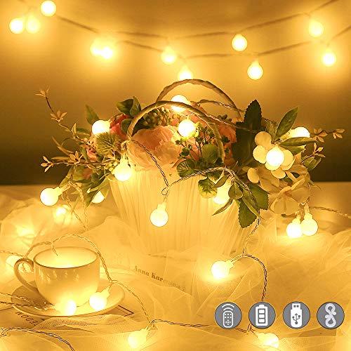 Catena Luminosa con Ganci Stringa Luci LED a Batteria o USB 100 LED 10M 8 Modi Ghirlanda Luminosa Lampadina Impermeabile con Telecomando per Cortile Casa Festa Matrimonio Natale