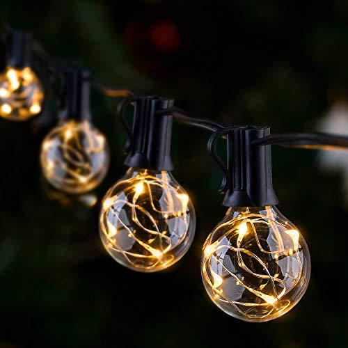 Catena Luminosa Esterno G40 LED, GlobaLink IP65 Catene Luminose per Esterni 11.7M 30+3 G40 Lampadine LED, Luci da Esterno Decorative per Natale Nozze Matrimonio Casa Giardino Feste Estern-Bianco Caldo