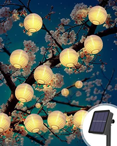 Catena Luminosa Solare, Lanterne da Esterno LED 6Metri 40LED Lanterne Luci Solari Esterno Decorative Stringa di Luci Impermeabile Natale Feste Atmosfera Per Giardino, Patio, Cortile, (Bianco Caldo)