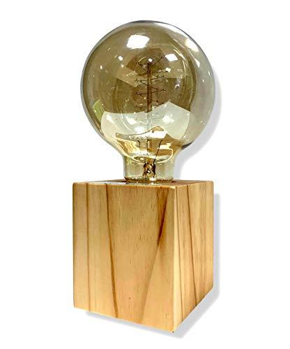 Cflagrant® - Portalampada E27 in legno quadrato lampada da tavolo Edison presa EU standard illuminazione decorativa per ufficio, casa, bar, ristorante