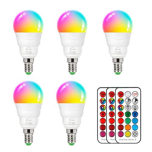 ChangM Lampadina a LED dimmerabile E14 RGBW con cambio colore da 6 watt con telecomando RGB e 2700 K Set di 5 Bianco caldo