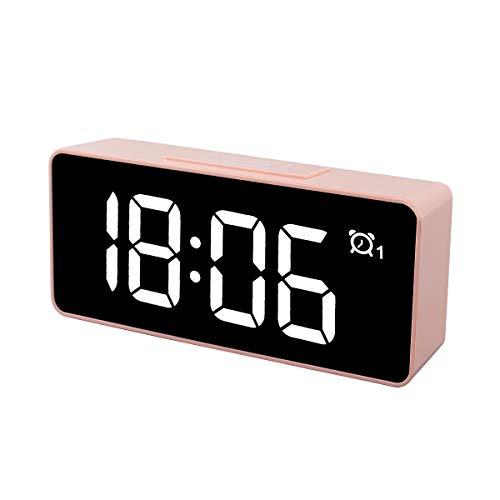 """CHEREEKI Sveglia Digitale, 4.6"""" LED Grande Schermo Doppio allarmi Sistema Sistema 12/24 Ore 25 Musica, Funzione di Snooze, 3 Livelli di luminosità Presa USB per Casa e Ufficio (Rosa)"""