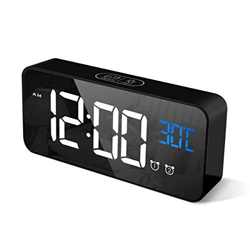 CHEREEKI Sveglia Digitale, LED Sveglia da Comodino con Temperature, 2 Sveglie, Snooze, 12/24 Ore per Casa e Ufficio (Nero)