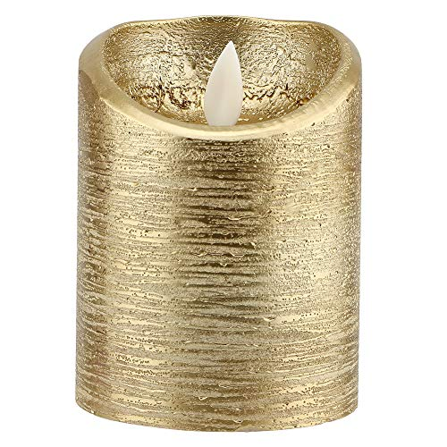 CHICIRIS Candele Senza Fiamma a LED, Candele elettriche a Fiamma oscillante in Oro, candelabro a LED Senza Fumo Alimentato a Batteria per la Decorazione Domestica, Compleanno, Vacanze(M(7.5x12.5cm))
