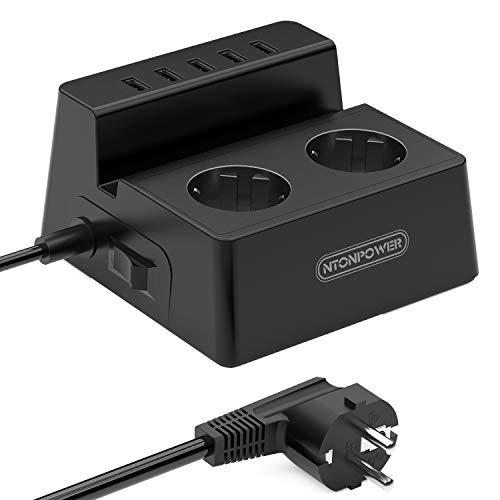 Ciabatta Elettrica Multipresa con 5 USB e Interruttore 2 Presa Schuko per Scrivania - Nero