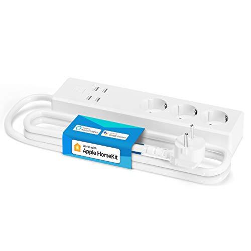 Ciabatta Intelligente Compatibile con HomeKit, meross Multipresa WiFi Smart 3 Prese AC 4 Porte USB, Funzione Timer, Compatibile con SmartThings, Amazon Alexa, Google Assistant e IFTTT
