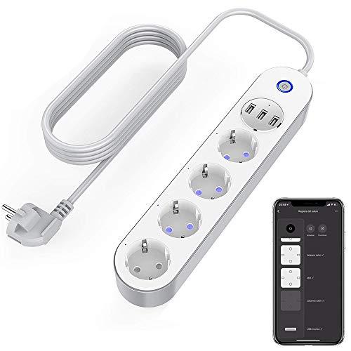 Ciabatta Intelligente Multipresa WiFi, presa multipla 4 prese 3 USB, controllo vocale, controllo app e funzione timer, compatibile con Alexa, Google Home e IFTTT