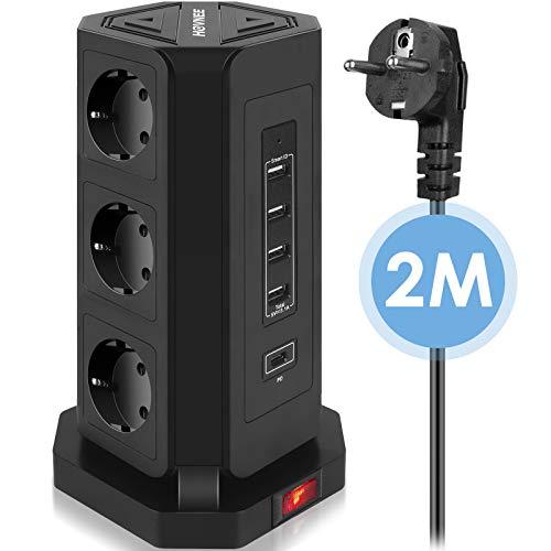 Ciabatta Multipla, HOVNEE Multipresa Verticale Torretta A 9 Prese (2500 W/10 A) Con 4 Porte USB A e 1 Porta Di Ricarica USB-C e Cavo Da 2,0 m (5 V/3,1 A), Protezione Da Sovratensione E Cortocircuito