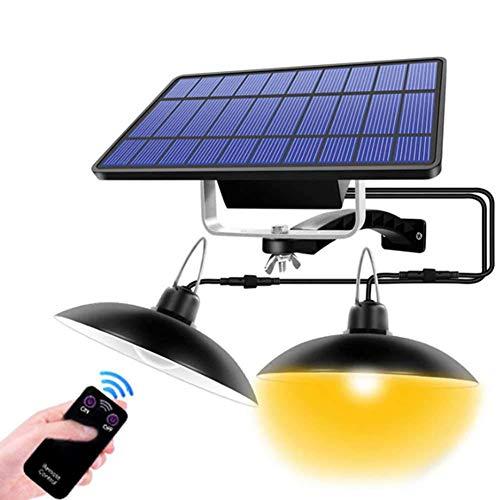 CLIUS Luci Solari da Esterno Telecomando LED Solare Alimentato Capanno Luce Impermeabile Ciondolo Lampada con Regolabile Pannello Solare per Casa Cortile Giardino Patio Balcone Decora