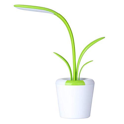Clivia - Lampada da scrivania a LED da 3 W, con funzione di cambio colore, senza fili, dimmerabile, protezione per gli occhi, verde