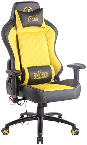 CLP Sedia Gaming Rapid XM Massaggiante In Similpelle I Poltrona Racing Ufficio Con Braccioli Orientabili E Doppio Cuscino, Colore:nero/giallo