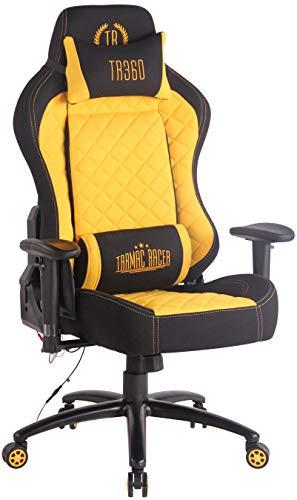 CLP Sedia Gaming Rapid XM Massaggiante In Stoffa I Poltrona Racing Ufficio Con Braccioli Orientabili E Doppio Cuscino, Colore:nero/giallo