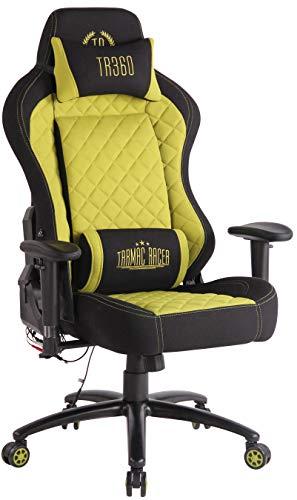 CLP Sedia Gaming Rapid XM Massaggiante In Stoffa I Poltrona Racing Ufficio Con Braccioli Orientabili E Doppio Cuscino, Colore:nero/verde