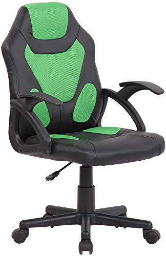 CLP Sedia Studio Gaming Bambino Dano In Similpelle E Rete Traspirante I Poltrona Racing Con Braccioli, Colore:nero/verde