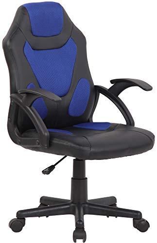 CLP Sedia Studio Gaming Bambino Dano In Similpelle E Rete Traspirante I Poltrona Racing Con Braccioli, Colore:nero/blu