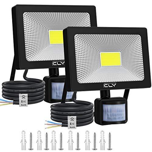 CLY 2Pack 30W Faretto LED da esterno con sensore di movimento, proiettore LED da esterno 6500K, lampada di sicurezza LED 3000LM per giardino, garage, balcone, patio, cornicioni