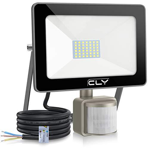 CLY Faretto LED da esterno 35W con sensore di movimento, luce di sicurezza impermeabile IP66, proiettore 6500K bianco freddo 3500LM, faretti LED per giardino, corridoio, terrazza, patio