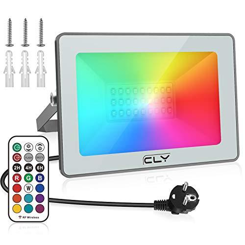 CLY Faretto RGB LED 25W Faro Esterno Faretti da Giardino Proiettore RGB IP66, 12 colori 2 modalità Dimmerabile RF 360°Telecomando Controllato [Classe di efficienza energetica A]