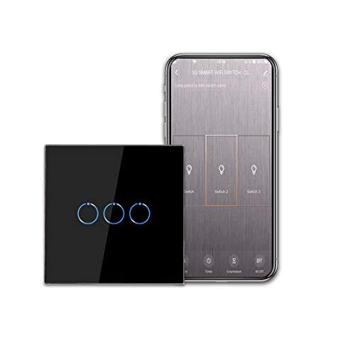 CNBINGO - Interruttore della luce WiFi, interruttore smart touch, funziona con Alexa/Google Home, pannello touch in vetro e LED di stato, interruttore a 1 polo, nero, conduttore neutro necessario.