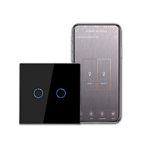 CNBINGO - Interruttore della luce WiFi, interruttore smart touch, funziona con Alexa/Google Home, pannello touch in vetro e LED di stato, interruttore a 2 vie 1 polo, nero, conduttore neutro
