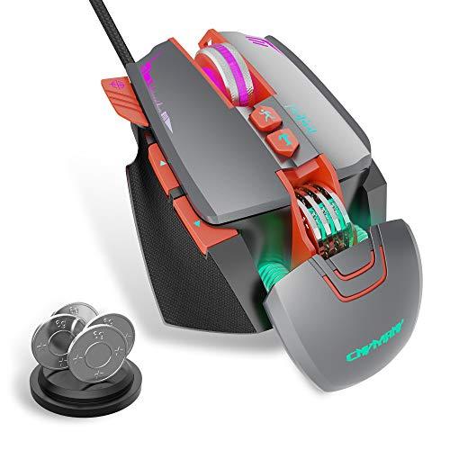 CNYMANY Mouse Gioco [4 Peso Rimovibile] [Programmabile] [Illuminazione RGB] [7 Pulsanti Programmabili] [Profilo Gioco Personalizzabile] [3200 DPI] Mouse Gioco Cablato per PC/Mac(Grigio)
