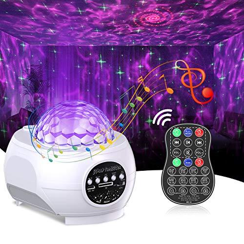 Cocoda Proiettore Stelle Soffitto con LED Nebula Cloud, 3 in 1 Starry 15 Colori Romantica Luce Notturna Bambini con Altoparlante Bluetooth & Telecomando, Proiettore Cielo Stellato per Camera/Festa