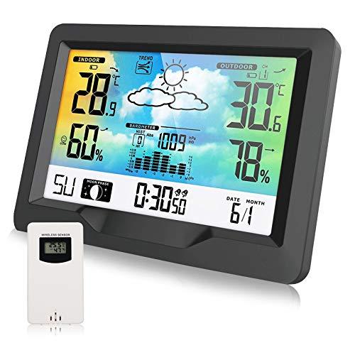 Colmanda Stazione Meteo, Stazione Meteorologica Stazione Meteo Automatica con Display Digitale LCD a Colori, Stazione Meteo con Sensore Wireless, Previsioni Meteo Snooze Tempo Data Temperatura Umidità