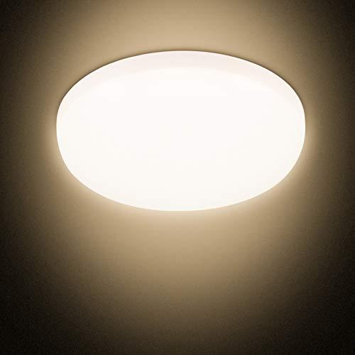 Combuh Plafoniera LED Impermeabile IP56 30W 2400Lm Facile da Installare Adatto per Salotto, Bagno, Ufficio, Portico Esterno, Garage-Bianco Caldo 3000K Rotondo Ø25Cm