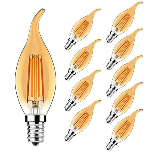 Confezione da 10 lampadine a candela a LED E14, E14, 4 W, filamento classico a candela, 360 lumen, sostituisce 30 Watt, non dimmerabile (bianco caldo ambra vetro)
