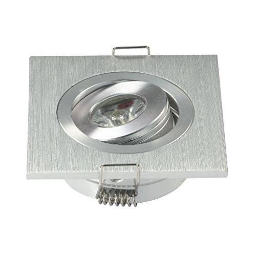 Confezione da 10 mini-faretti da incasso a LED, quadrati, da 3 W, regolabili, per armadi, colore: bianco freddo, con unità di alimentazione