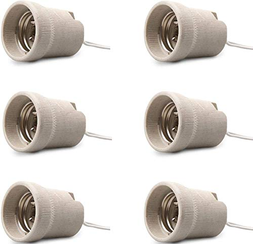 Confezione da 6 supporti per lampadine, prese in ceramica, attacco Edison a vite E27, montaggio sull'attacco della lampada, supporto per lampadina, attacco lampadina