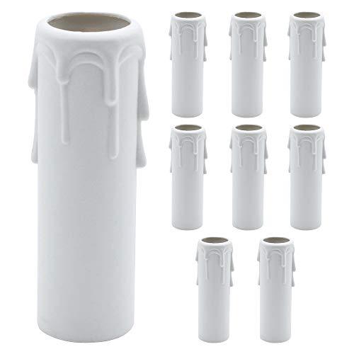 Confezione da 9 maniche antigoccia per candele Copri candela in plastica bianca Tubi Maniche per luci Lampadari Lampade da parete Lampade a sospensione Lampade a sospensione Accessori Sostituzione