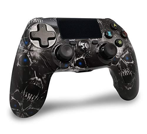 Controller Wireless PS4 PC Hontu Controller di Gioco Wireless Bluetooth Gamepad Controller Doppia Vibrazione con Audio & USB Ricaricabile per Playstation 4/ PS4 Slim/ PRO & PS3/ PC (Teschio Nero)
