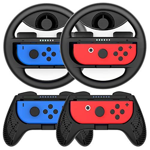 COODIO Volanti e Grip Joy-Con per Nintendo Switch, Volante Joy-Con / Joystick Hand Grip per Mario Kart / Controller Nintendo Switch Joy-Con, Nero (4 Pezzi)