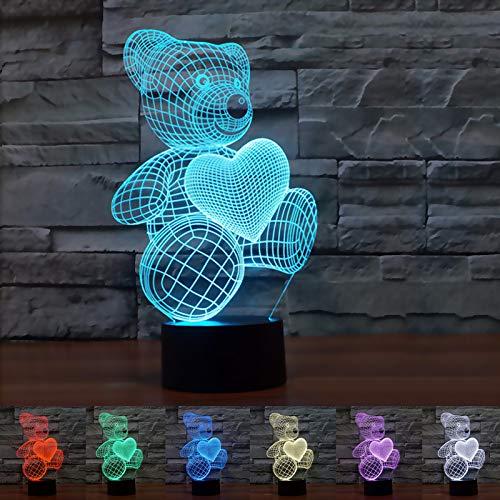 Coolzon 3D Illusion Lampada Luce Notte Bambini Comodino Toccare Il Controllo 7 Colori Selezionabil Orsacchiotto Luci Notturne Idee Regalo San